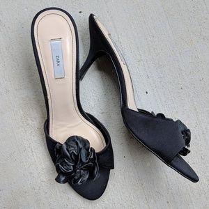 Zara | flower peep toe, slide pump heels